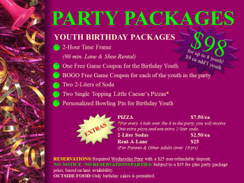 Youth Birthday Party Packages - Sept 25 '14